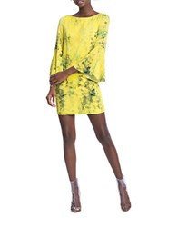 Tracy Reese Floral Flounce Sleeved Dress Gold