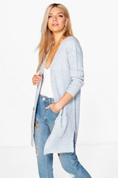 Boohoo Shawl Collar Fisherman Rib Knit Cardigan Pastel Blue