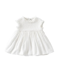Il Gufo Cap Sleeve Woven Shift Dress Off White Size 6 12 Months