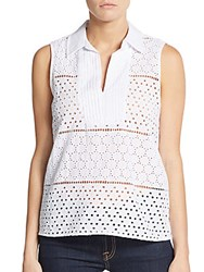 August Silk Eyelet Sleeveless Top White