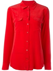 Equipment Pocketed Button Down Shirt Red