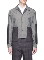 The World Is Your Oyster Check Plaid Patch Stripe Shirt Jacket Grey Multi Colour