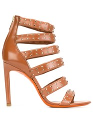 Santoni Studded Rear Zip Sandals Brown