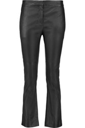 Brunello Cucinelli Cropped Leather Bootcut Pants Dark Gray