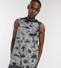 Soul Star Tall Sleeveless Tie Dye T Shirt Grey