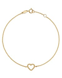 Moon And Meadow 14K Yellow Gold Beaded Heart Bracelet