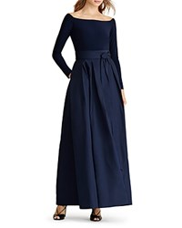 Ralph Lauren Mixed Media Gown Lighthouse Navy