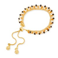 Azuni London Melina Three Strand Bracelet With Carnelian And Black Spinel Gold