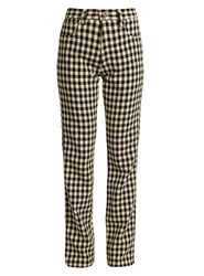 Wales Bonner Brother Checked Slim Leg Cotton Trousers Black Cream