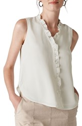 Whistles Maddie Frill Top Ivory