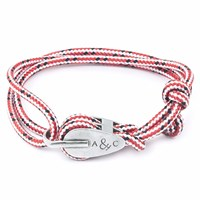 Anchor And Crew Red Dash Tyne Rope Bracelet