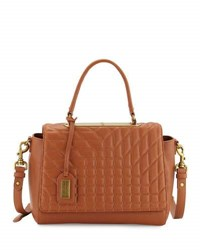 Badgley Mischka Frankie Quilted Satchel Crossbody Bag Cognac