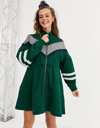 Lazy Oaf Track Dress With Contrast Panels Green
