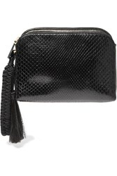 The Row Wristlet Tasseled Python Clutch Black