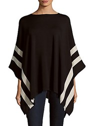 Saks Fifth Avenue Black Asymmetric Colorblock Poncho Oatmeal Black