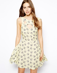 Liquorish Bird Print Dress Yellowblue
