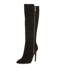 Neiman Marcus Suede Stiletto Heel Boot Black
