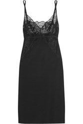 Commando Love And Lust Lace Paneled Stretch Chemise Black