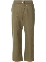 See By Chloe Cropped Sailor Trousers Green