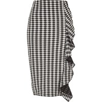 River Island Womens Black Gingham Print Frill Front Pencil Skirt
