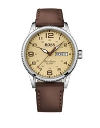Hugo Boss Pilot Stainless Steel And Leather Strap Watch 1513332 Brown