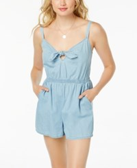 As U Wish Juniors' Cotton Tie Front Romper Sky Blue