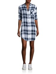 Rails Bianca Long Sleeve Plaid Shirt Dress White Blue