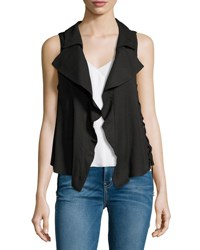 Moon River Split Back Lace Up Vest Black