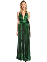 Elie Saab Plisse Lame Crepe Georgette Dress Green