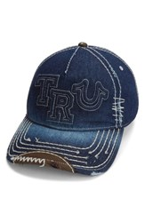True Religion Men's Brand Jeans Denim Baseball Cap Blue Dark Indigo