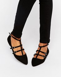 Oasis Lucy Triple Buckle Ballerina Black