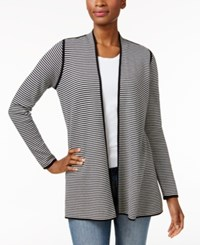 Charter Club Striped Open Front Cardigan Only At Macy's Deep Black Combo