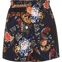 River Island Womens Black Floral Print High Waisted Shorts