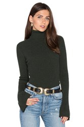 Autumn Cashmere X Revolve Ribbed Turtleneck Bell Sleeve Sweater Dark Green
