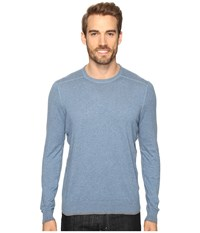Agave Dawson Long Sleeve Supima Fine Gauge Copen Blue Men's Long Sleeve Pullover