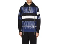 Hood By Air Logo Striped Cotton Terry Hoodie Blue