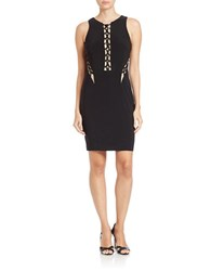 Xscape Evenings Corset Mesh Sheath Dress Black