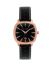 Ted Baker Square Case Leather Strap Sport Watch 40Mm Rose Gold Black