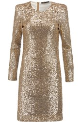 Maje Sequined Tulle Mini Dress Gold