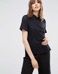 Ymc Perforated Top With Collar Black