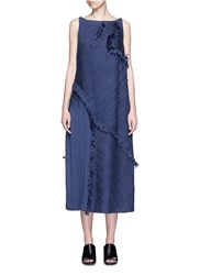 Xu Zhi 'Braid' Frayed Trim Midi Dress Blue