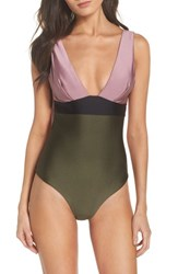 Ted Baker London Contrast One Piece Swimsuit Dusky Pink