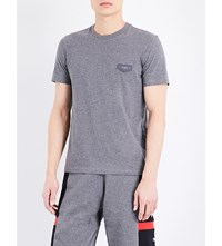 Givenchy Leather Badge Cotton Jersey T Shirt Grey
