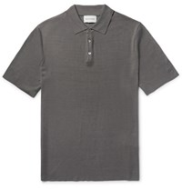 Solid Homme Knitted Silk Polo Shirt Gray