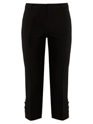 Dolce And Gabbana Button Cuff Cropped Wool Blend Trousers Black