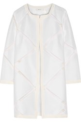 Milly Fil Coupe Cotton And Silk Blend Coat White