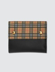 Burberry Small Scale Check And Leather Folding Wallet Yellow