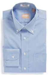 Gitman Brothers Vintage Men's Big And Tall Regular Fit Pinpoint Cotton Oxford Button Down Dress Shirt Blue