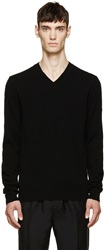 Comme Des Garcons Black Wool V Neck Logo Sweater