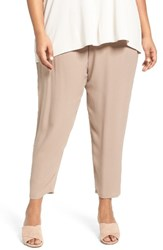 Eileen Fisher Plus Size Women's Silk Georgette Crepe Ankle Pants Mocha